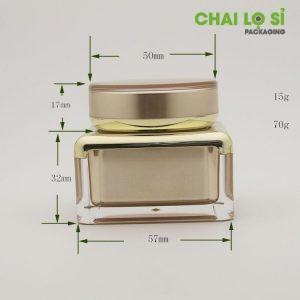 Kích thước hũ Cream Gold acrylic 15G
