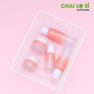 bộ đựng mỹ phẩm thủy tinh hồng ombre