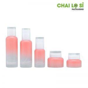 bộ mỹ phẩm thủy tinh hồng ombre