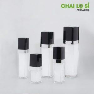 Bộ mỹ phẩm trắng đục bọc acrylic trong suốt nắp đen