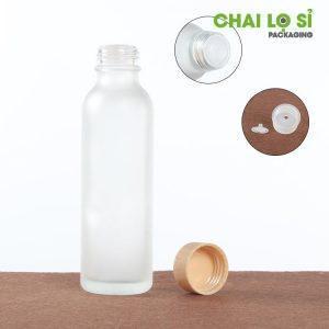 chai mỹ phẩm thủy tinh mờ nắp vân gỗ