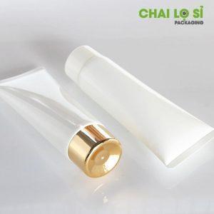 Tuýp nhựa đựng mỹ phẩm trắng đục 02 nắp vàng