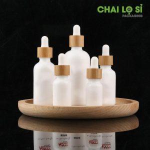 Chai serum thủy tinh trắng sứ nắp gỗ tre