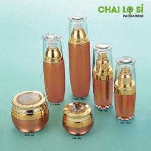 Hũ mỹ phẩm vàng đồng nắp vàng kim đỉnh in hoa chìm chất lượng