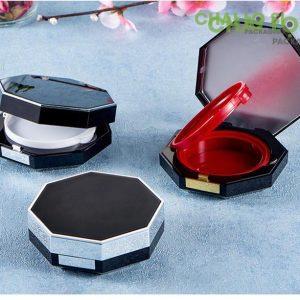 bộ ba hộp kem trang điểm bát giác đen lỳ viền kim loại