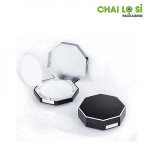 hộp kem trang điểm bát giác đen lì viền kim loại