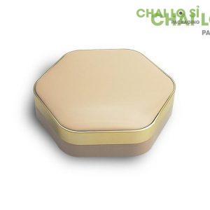 hộp kem trang điểm lục giác cam nhạt viên mạ vàng