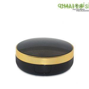 hộp phấn trang điểm tròn đen bóng viền mạ vàng
