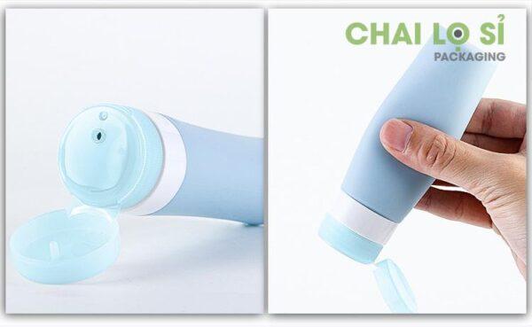 chai-my-pham-silicone-xanh-nap-bat