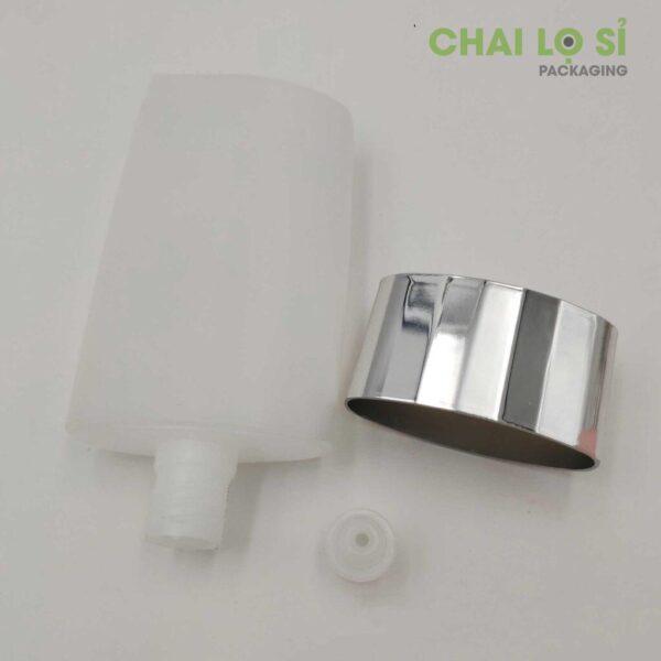 Chai nhựa hình trụ tròn trắng đựng mỹ phẩm 50g